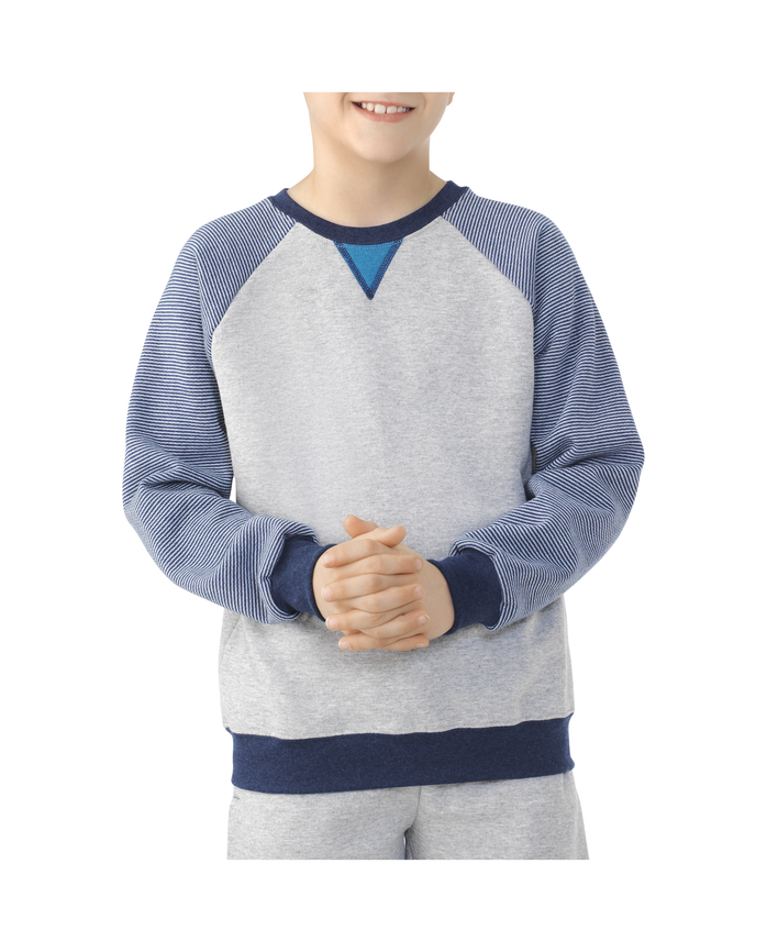 Boys Fleece Raglan Crewneck Sweatshirt ATHLETIC HEATHER / SMOKE BLUE STRIPE / T.BLUE HEATHER / AMULET TEAL HEATHER