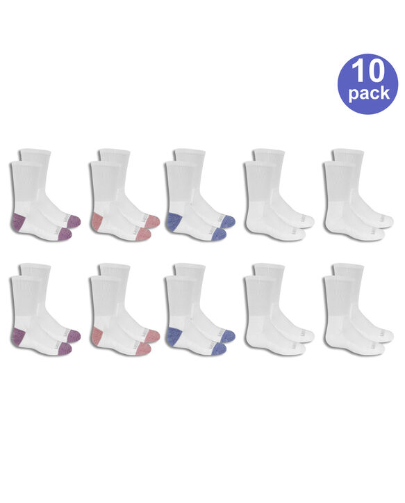 Girls' Cushioned Crew Socks, 10 Pack WHITE/PURPLE, WHITE, WHITE/BLUE, WHITE/PINK