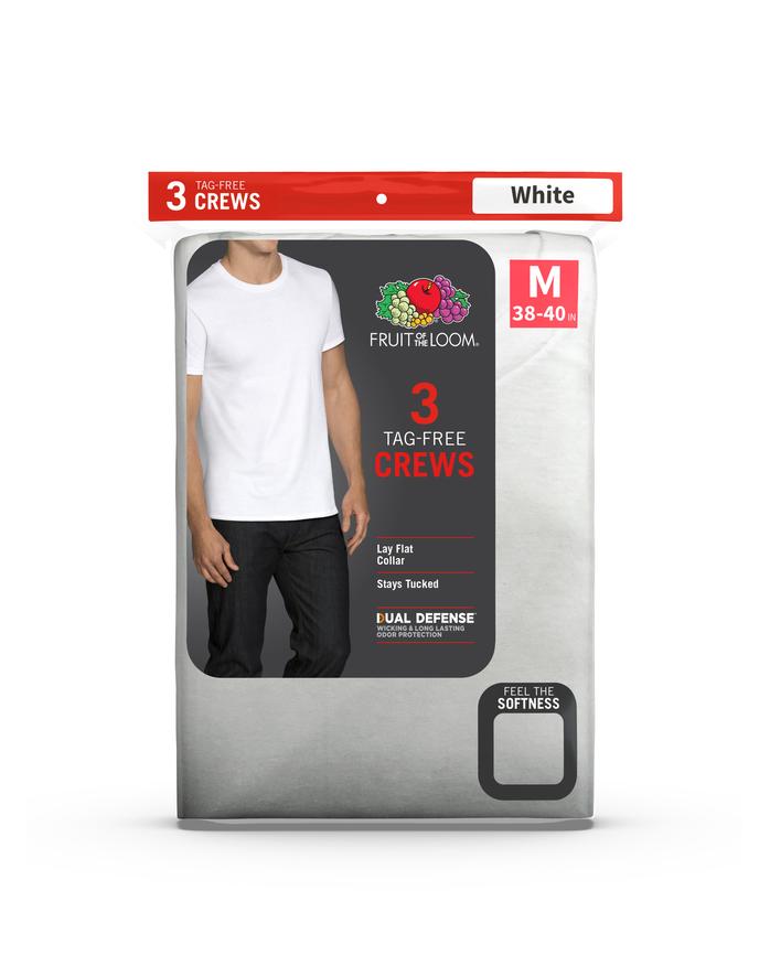 558fdbefcc Men's Dual Defense® White Crew Neck T-Shirts, 3 Pack | Fruit