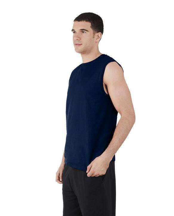 Big Men's Dual Defense UPF Sleeveless Muscle Shirt Navy
