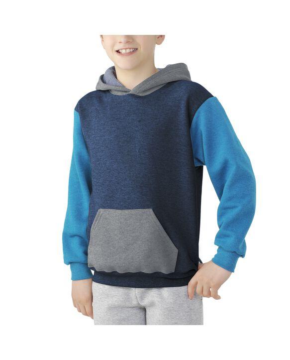 Boys' Fleece Hoodie Sweatshirt, 1 Pack Blue Heather