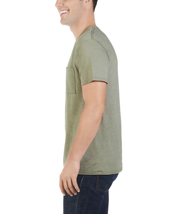 Men's Dual Defense UPF Short Sleeve Pocket T-Shirt, 1 Pack Green Moss Heather