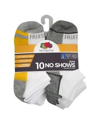 Boys' Lightweight No Show Socks, 10 Pack