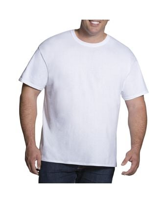 Big Men's Short Sleeve White Crew T-Shirts, 3 Pack